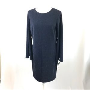 Navy knitted bell sleeves dress (#192,193)